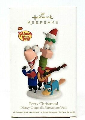 RARE NEW 2012 HALLMARK PHINEAS AND FERB PERRY CHRISTMAS ORNAMENT SCARCE FUNNY
