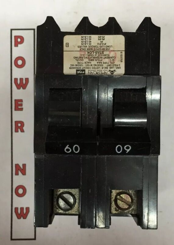 Federal Pacific FPE Stab-Lok Breaker 2 Pole 60 Amp 240V Thick - Ships Today