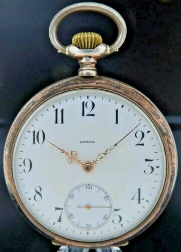 Antique Omega 15 Jewel Manual Wind Pocket Watch .800 Silver + Micro Regulator