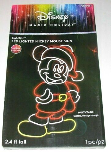 Disney Magic Holiday LED Mickey Mouse Sign Multi-Color 2.4 ft Tall Brand New