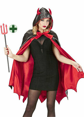 Teufel Kostüm Damen Teufelin Halloweenkostüm Umhang Teufelshörner - Gabel Kostüme