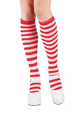 pfe Weihnachten rot weiß Ringelstrümpfe Weihnachtsfrau KK (Weihnachtself Strümpfe)