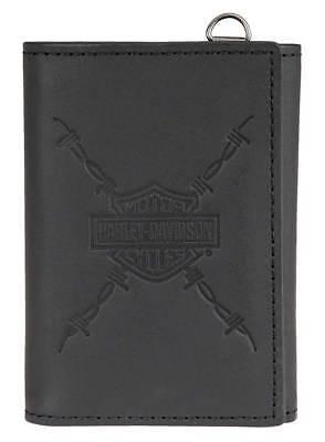 Harley-Davidson Men's Danger Zone Tri-Fold Genuine Leather Wallet HDMWA11213-BLK
