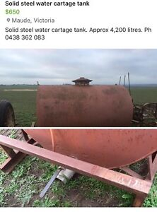 Steel water cartage tank Anakie Outer Geelong Preview