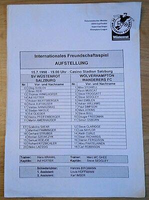 SV Wustenrot v Wolves Single Sheet Friendly Programme / Teamsheet 15/07/98