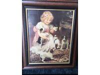 Set of 2 framed print pictures of victorian children