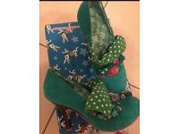 Irregular choice heels and bag