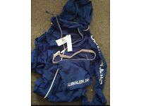 Brand New Calvin Klein Designer Blue Zip Jacket Nylon for Men, Large, RRP £178