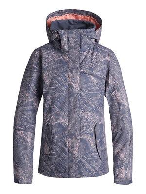 Roxy Jetty Crown Blue Queen Motif Womens Snowboard Ski Jacket (Jetty Blue)