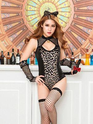 Body Resille Noir Vinyl Leopard Chat Catwoman 4pcs T Costume