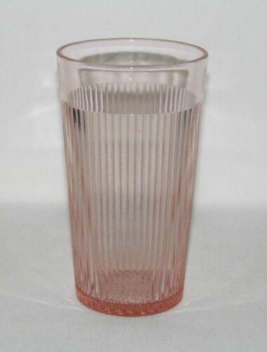 Jeannette Glass HOMESPUN Pink Flat Banded-Top Iced Tea Tumbler