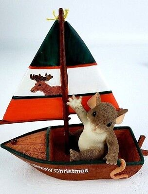 """Charming Tails by Fitz and Floyd Signed """"Sailing By To Say Hi"""" Item: 98/425"""