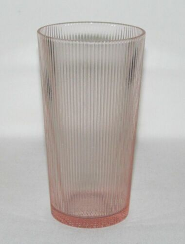 Jeannette Glass HOMESPUN Pink Flat Straight-Sided Iced Tea Tumbler