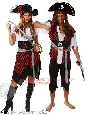Ladies & Mens Matching Couples Pirate Halloween Fancy Dress Costumes Outfits](Halloween Outfits Couples)
