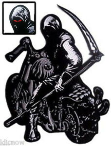 GRIM-REAPER-with-SYTHE-on-MOTORBIKE-BACK-PATCH-23CM-x-30CM-9-x-12-Sew-on