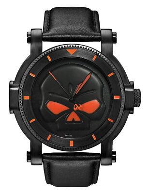 Harley-Davidson Men's Bulova Black Willie G Skull Wrist Watc