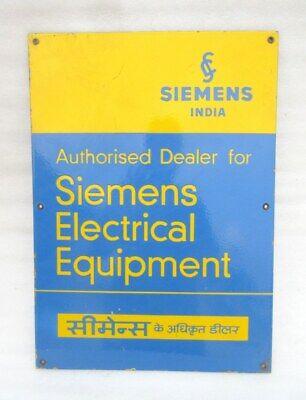 Siemens Electrical Equipment Ad Porcelain Enamel Sign Board Vintage Rare Sign