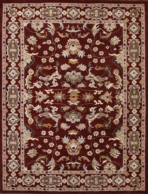 Hand-tufted Floral All-Over Burgundy Oushak Indoor Oriental Area Rug Wool - Burgundy Hand Tufted Wool Rug