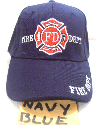 FIRE DEPARTMENT HAT NAVYBLUE WITH SHADOW BASEBALL STYLE CAP - Fire Hat