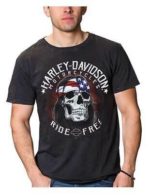 Harley-Davidson Men's Ride Free Biker Short Sleeve Cotton T-Shirt, Black Wash