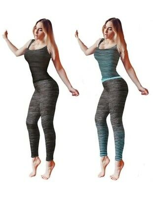 Womens Exercise Gym Wear Ladies Running Workout Sportswear Fitness Clothing 8-14