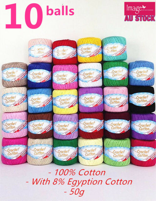 10x 100% Super Soft Crochet Cotton Ball 50g 3Ply Wool Yarn 38 Colour Available
