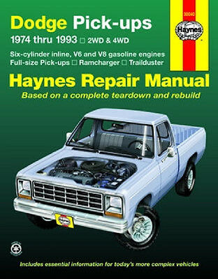 1974-1993 Dodge RAM Pickup 4x4 Ramcharger Haynes Repair Service Manual Book 2029 Dodge Ram Pickup Manual