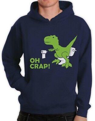 Dinosaur Hoodie Adults (T-Rex - OH CRAP! Funny Dinosaur Apparel - Adult Raptor Joke Hoodie)