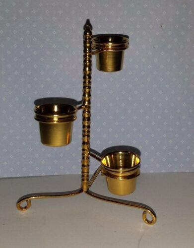 Dollhouse miniature brass plant stand with three brass pots