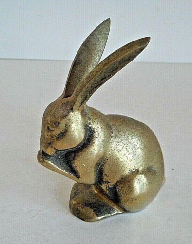 """Vintage Brass Rabbit Figurine Heavy 3-1/2"""" x 2-1/2#"""