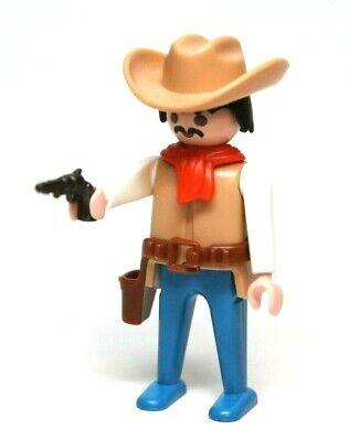 Playmobil Figure Western Cowboy w/ Tan Hat Mustache Red Scarf Gun Holster 3747 - Gunslinger Mustache