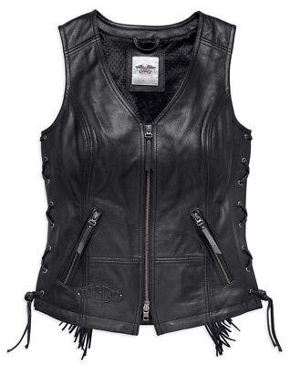 - Harley-Davidson® Women's Boone Fringed Side Lace Leather Riding Vest, Black 9801
