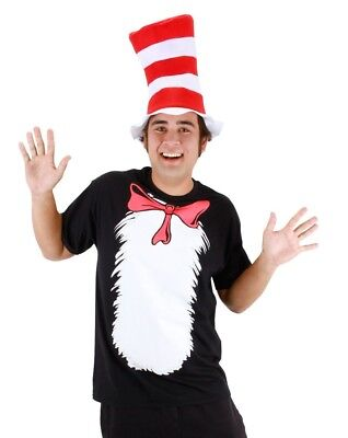 Dr. Seuss Cat in the Hat Short Sleeve T-Shirt Adult Costume & Accessory Kit