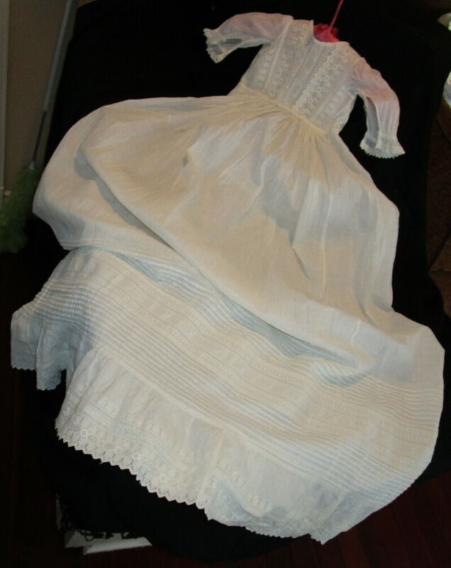 "Antique COTTON BAPTISM CHRISTENING GOWN ~ Ayrshire Embroidery ~ flowers 44"" long"