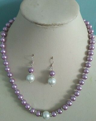 8mm Purple South Sea Shell Pearl necklace AAA 18 inches Earring Set h97 Purple Shell Pearl Necklace