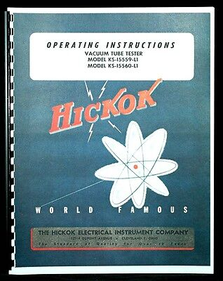 Hickok Ks-15559-l1 Ks-15560-l1 Tube Tester Manual
