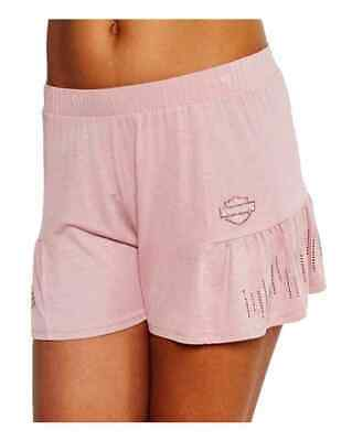 Harley-Davidson Women's BNS Flair Embellished Side Pleated Sleep Shorts, Pink Harley Davidson Lounge Pants
