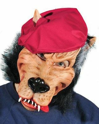 Big Bad Wolf Latex Mask Party Animal Red Beret Adult Halloween Costume Accessory - Big Bad Wolf Mask