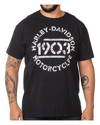 Harley Davidson Men's Small Woven Logo Black Short Sleeve Shirt  NWT
