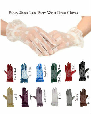 Tea Party For Girls (Fancy Sheer Lace Tea Party Vintage Wedding Bridal Wrist Gloves for Women)