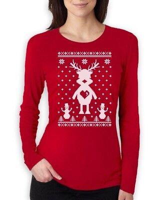 Christmas Clothing (Cute Reindeer Ugly Christmas Sweater Xmas Apparel Women Long Sleeve T-Shirt)