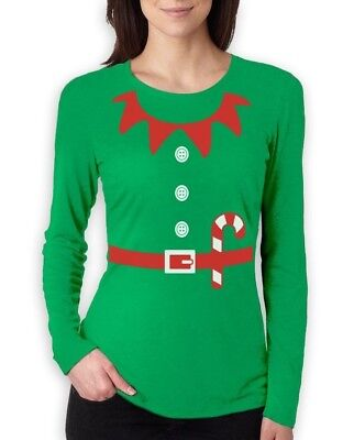 Elves Suit Outfit ELF CHRISTMAS Women Long Sleeve T-Shirt Crazy Gift Idea Granny