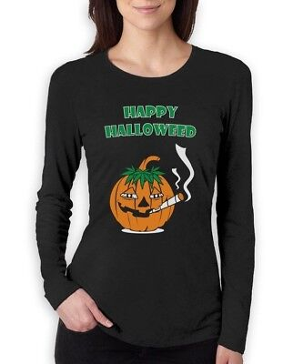 Happy Halloweed Women Long Sleeve T-Shirt Halloween Funny Stoner Costume weed (Halloweed Costumes)
