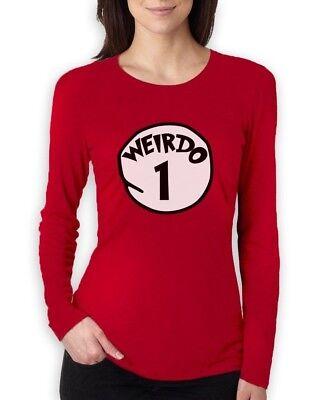 Weirdo 1 Costume Women Long Sleeve T-Shirt Halloween Matching BFF Red Thing