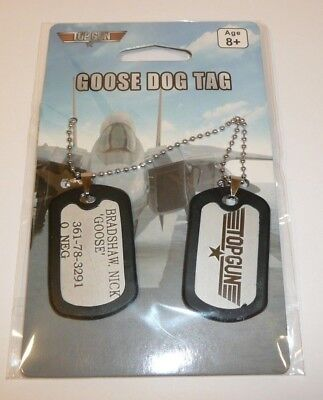 TOP GUN Movie GOOSE Dog Tags Set of 2 Necklace Bradshaw Nick Official Spirit - Costumes Of Dogs