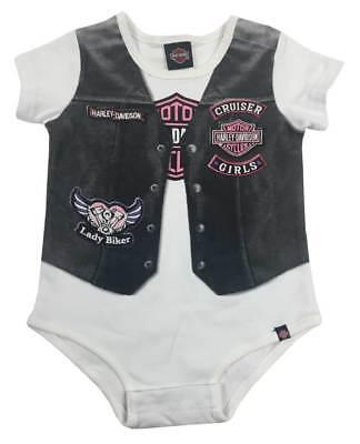 Girls On Harley (Harley-Davidson Baby Girls' Printed-On Motorcycle Vest Infant Creeper,)