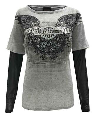 Harley-Davidson Women/'s Screamin/' Eagle Colorblocked Momentum Crew HARLLW0013