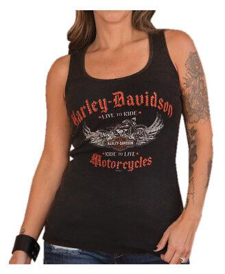- Harley-Davidson Women's Embellished Reign Sleeveless Tank Top, Washed Black