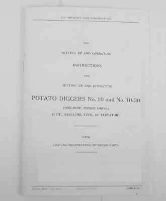 Ih Mccormick-deering Farmall No. 10 10-30 Potato Diggers Owners Parts Manual