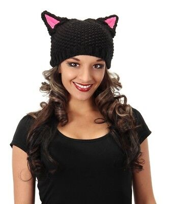 Knit Black Kitty Cat Beanie Hat Cap Child Adult Animal Costume Accessory